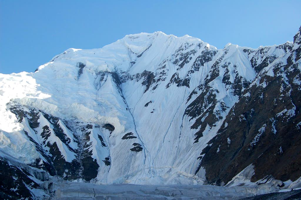 Shimshal Whitehorn's North Face from our bivi sight at 4600m