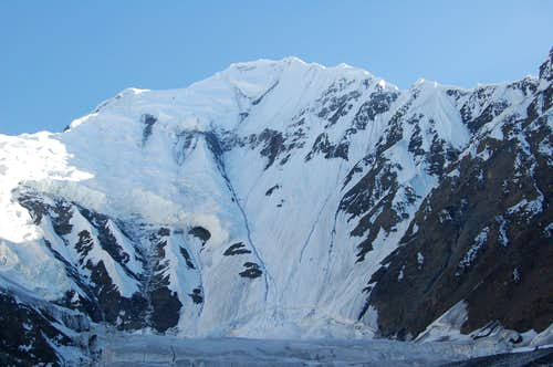 Shimshal Whitehorn\'s North Face from our bivi sight at 4600m