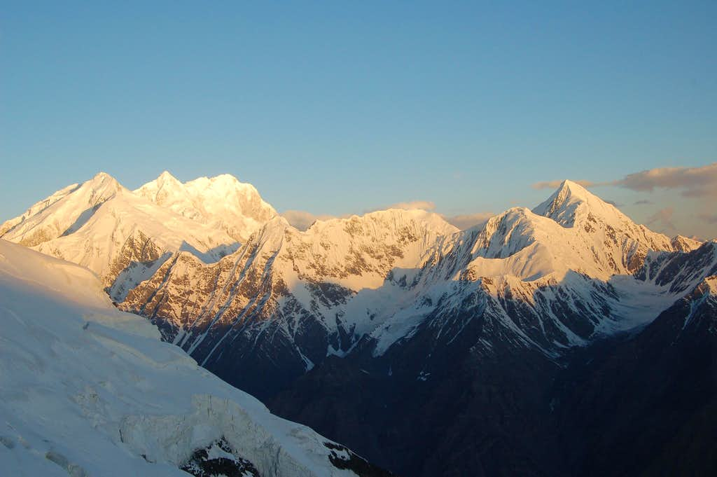 Shimshal Whitehorn at sunrise from Yazghil Sar's northern ridge