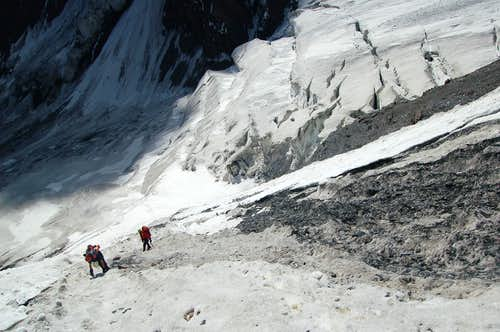 Retreating down the Couloir of 1000 gutters after Ben was hit on the thigh by a large rock