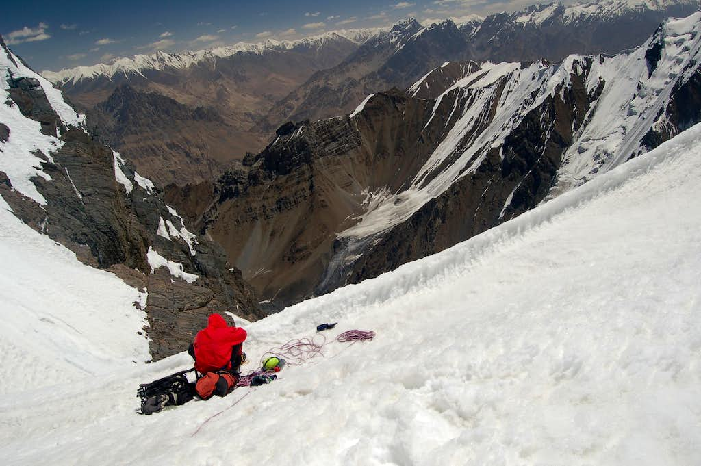 Pete contemplates retirement from Alpine climbing at the top of the couloir of 1000 gutters