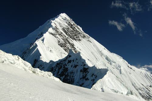 Shimshal Whitehorn's NW ridge from the col at around 4600m