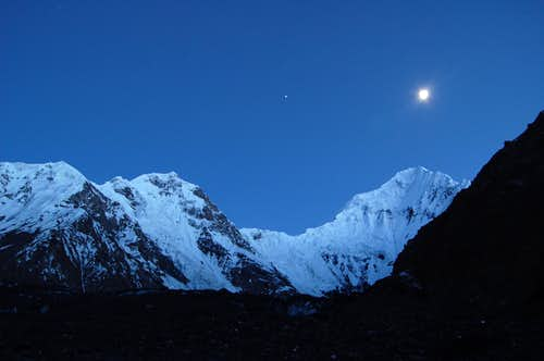 Shimshal Whitehorn (right) at nightime from our base camp at around 4400m