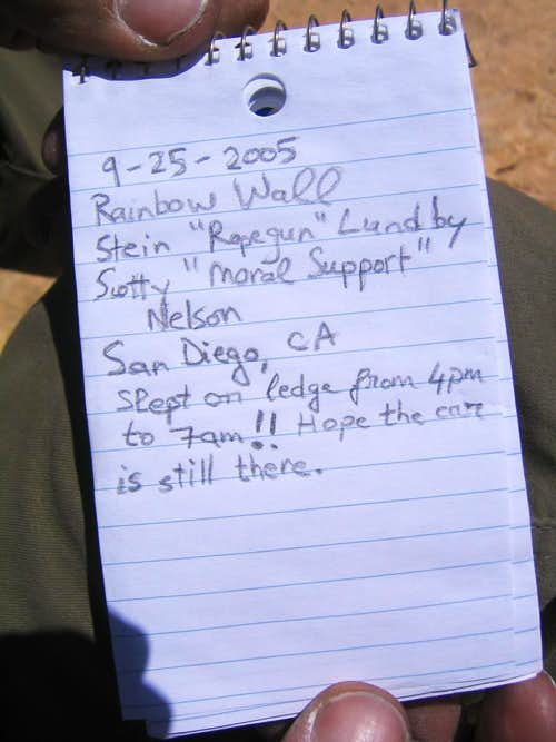 Our summit log entry.