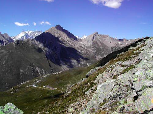 The ridge including  Grande Rochère and  Aiguille de Bonalè from Punta Fetita