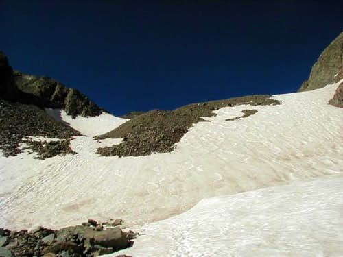 The snowfield just above the...
