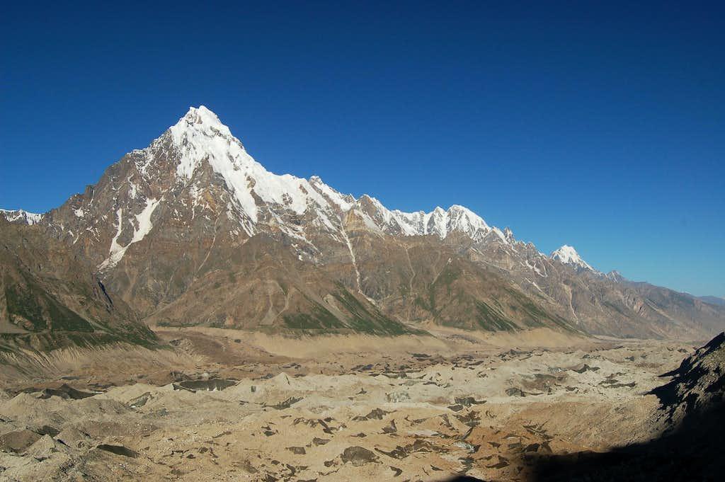 The unclimbed Makrong Chhish (6607m) viewed from between Pumari Chhish & Jutmo glaciers