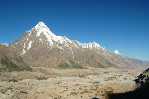 The unclimbed Makrong Chhish (6607m) viewed from between Pumari Chhish & Jutmo glaciers