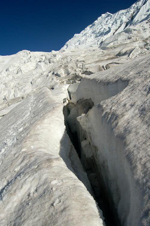 Crevasse near the base of Haigutum East