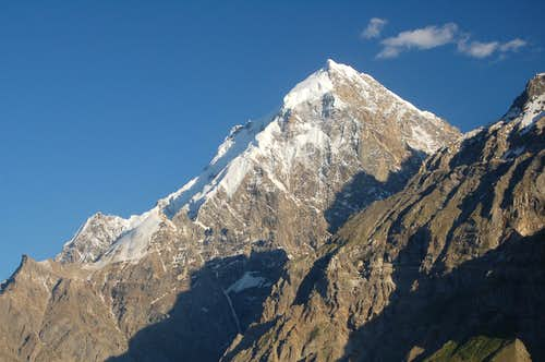 The impressive west face of Makrong Chhish (6607m), the highest peak in the Bal Chhish group