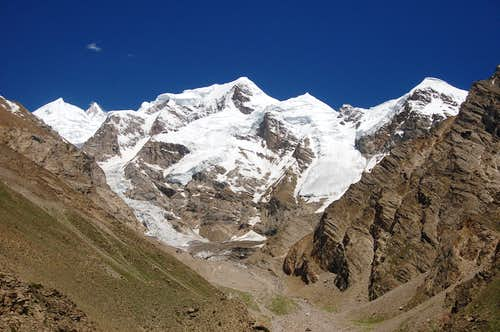 The Kunyang Chhish massif from Bitanmal on the north side of the Hispar Glacier.