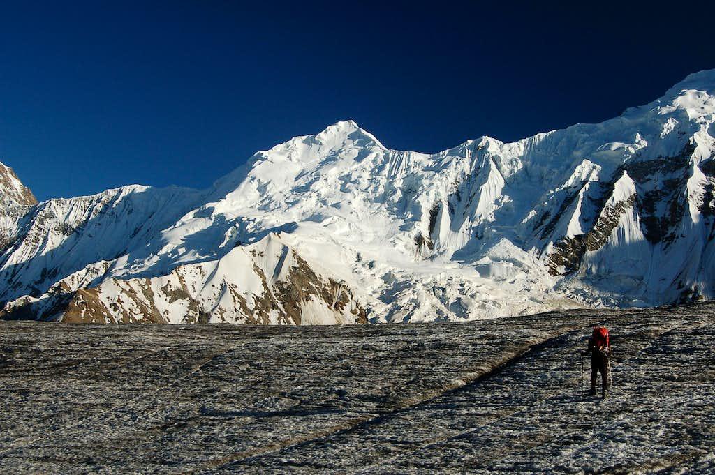 Crossing the Hispar Glacier before sunset