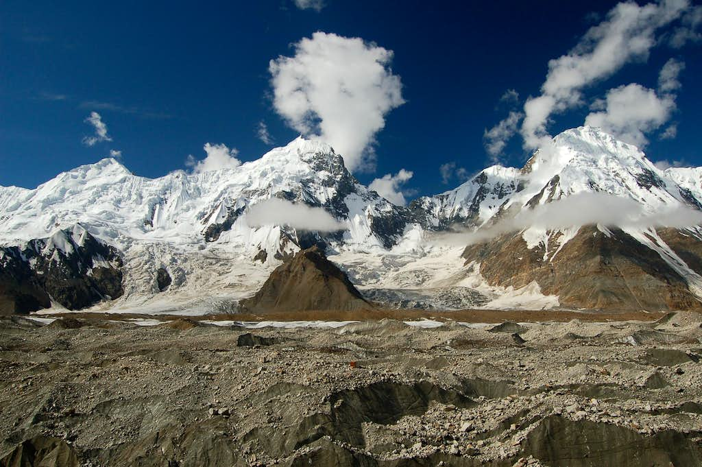 The Bal range range as viewed from our base camp on the north side of the Hispar glacier