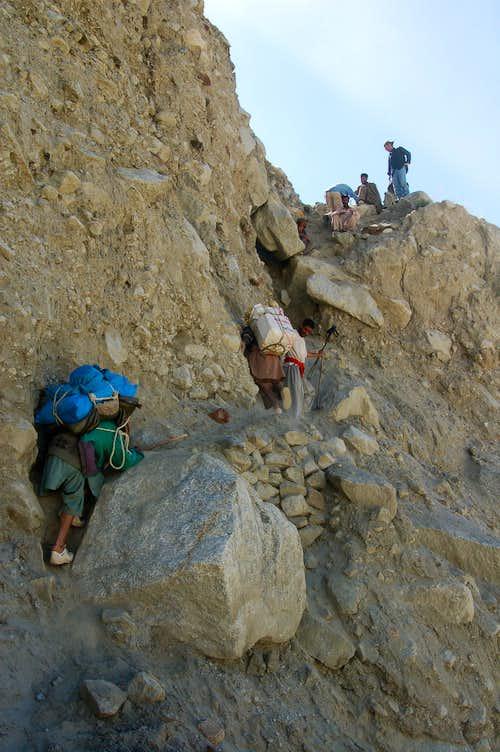 Trek to base camp along the northern side of the Hispar glacier