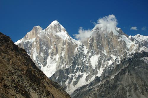 The Pumori Chhish peaks from the Jutmo glacier