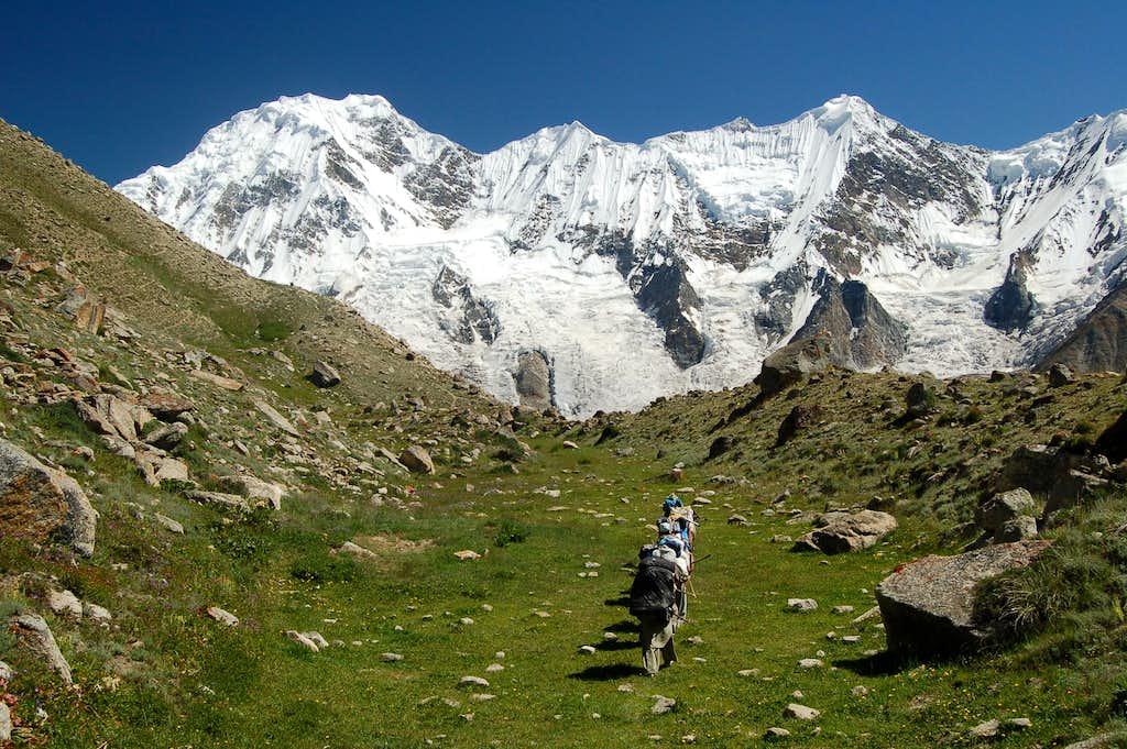 Porters trekking through the many meadows between the Pumari Chhish and Jutmo Glaciers