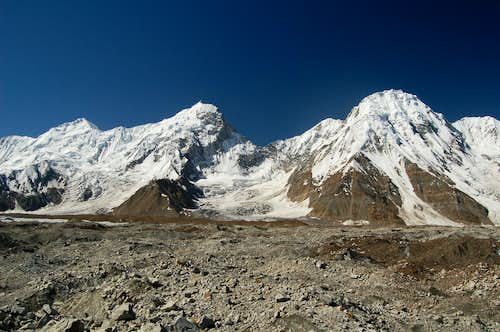 The Bal Chhish peaks from the Jutmo glacier. Haigutum East is the peak on the left
