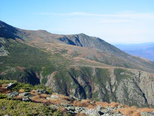 Looking over Tuckerman Ravine to the alpine garden and Huntington Ravine, from Boott Spur