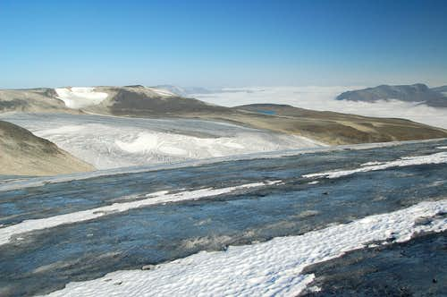 View down Styggebrean glacier from close to Galdhøpiggen\'s summit