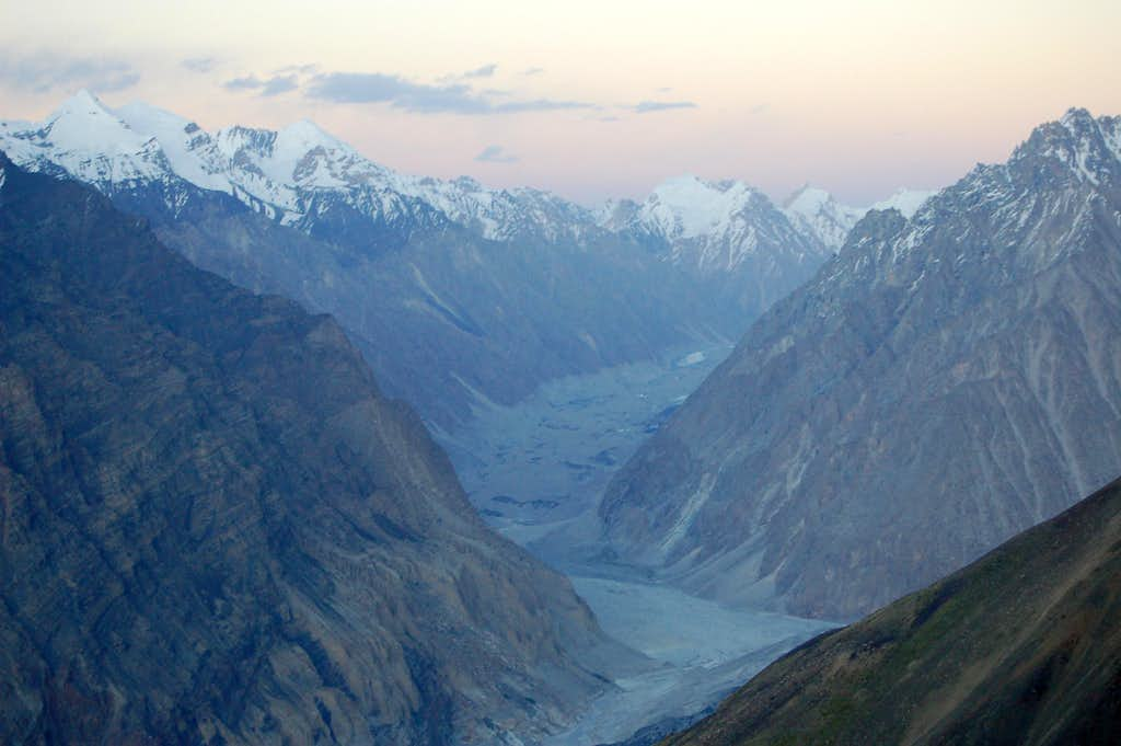 Sunset over the Virjerav glacier from Yazghil Sar's Base Camp