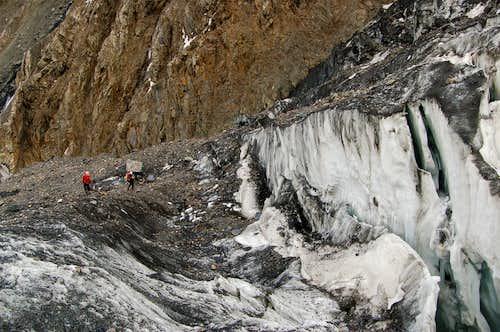 Crevasses above base camp