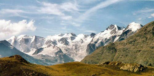 Bernina group seen from Alp Languard