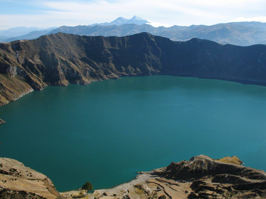 quilotoa lake and the ilinizas in the background