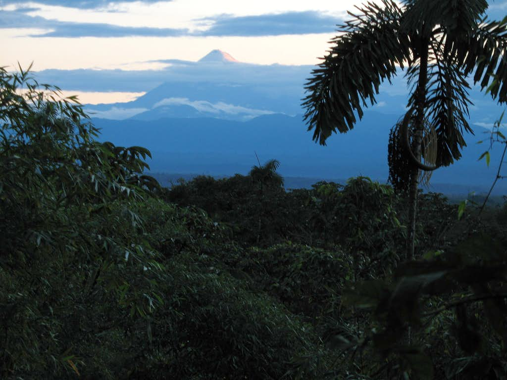 sangay at sunset from the rainforest close tu puyo