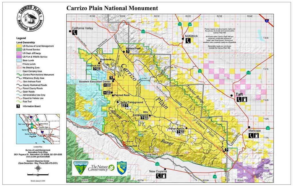 Map of Carrizo Plain Photos Diagrams Topos SummitPost