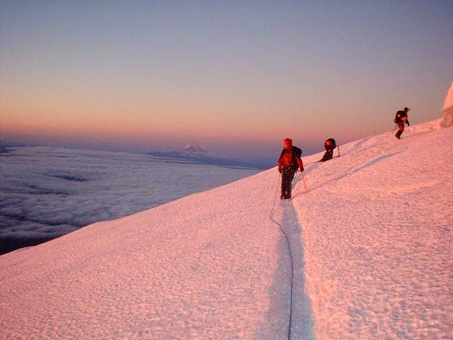 Descending from the summit...