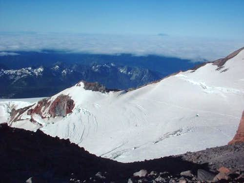 Looking down to Camp Muir...