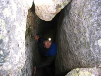 Looking down inside the cave