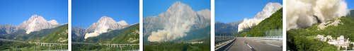 Rockfall on Corno Grande, Gran Sasso
