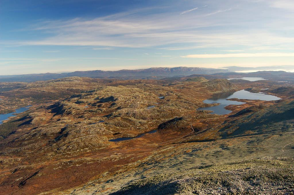 View east from summit of Gaustatoppen to Heddersvatn lake