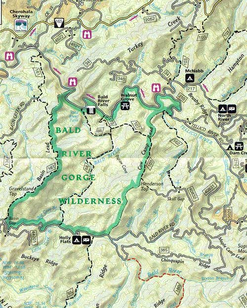 Bald River Gorge Map