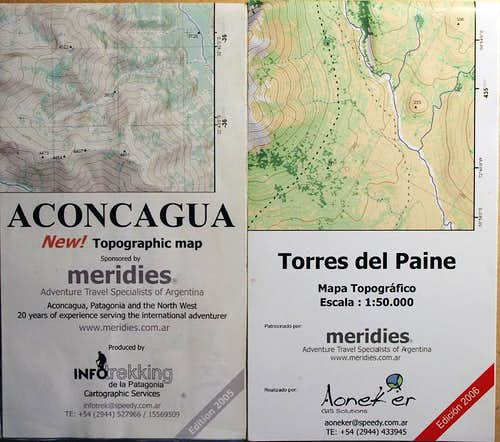Meridies Maps - Aconcagua & Torres del Paine