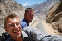 Minibus ride back to Aliabad, capital of Hunza after the climb. Riding on the roof is the only way to travel!