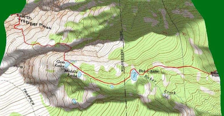 3D of Olbu Southeast Face Route