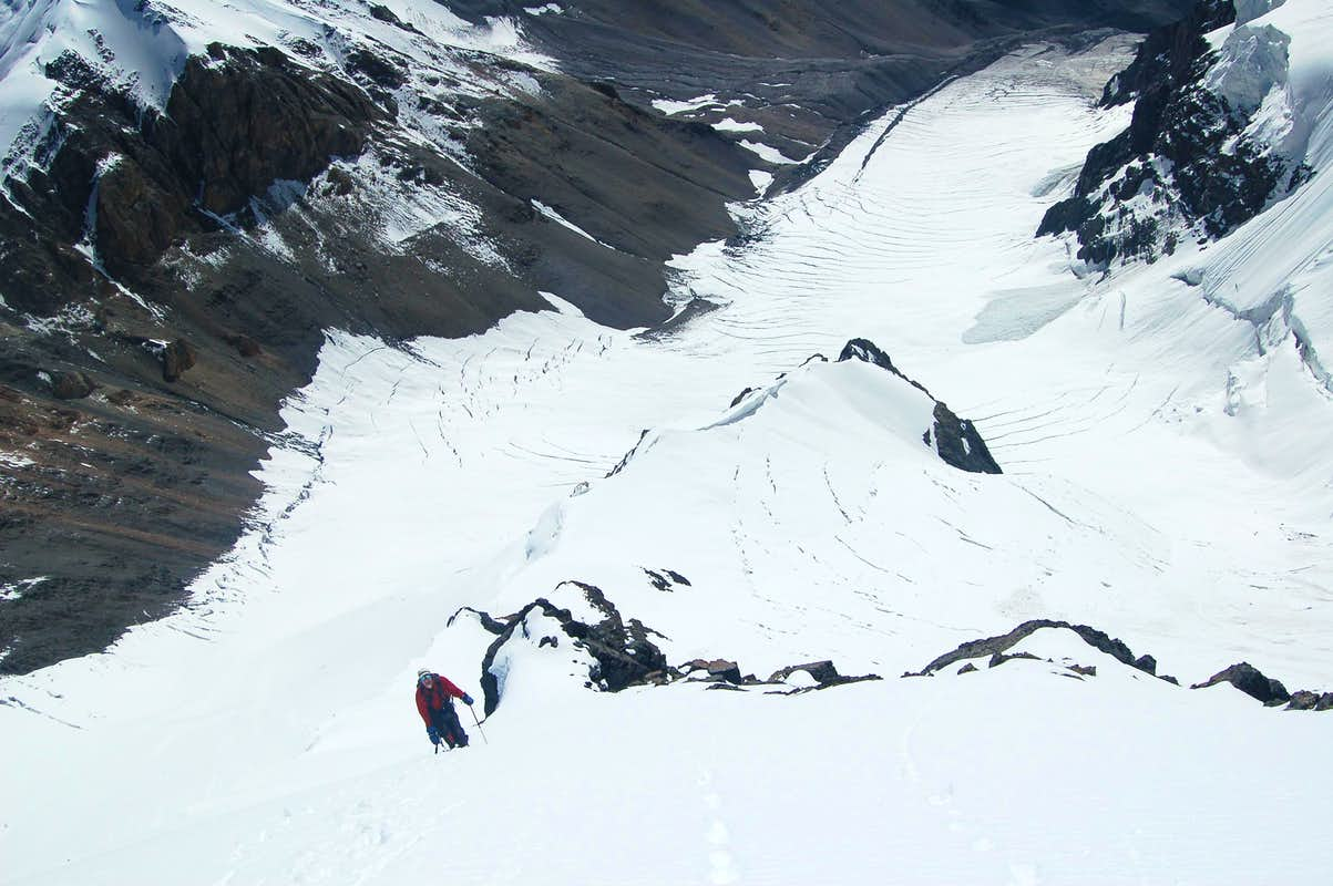 Peter approaching the top of the East Ridge of Ghorhil Sar