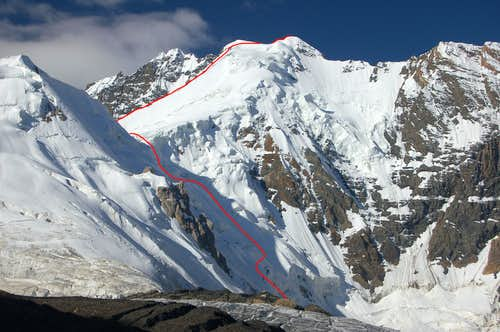 The North-east ridge: direct route to the col
