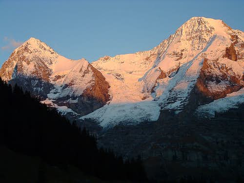Eiger and Mönch at sunset