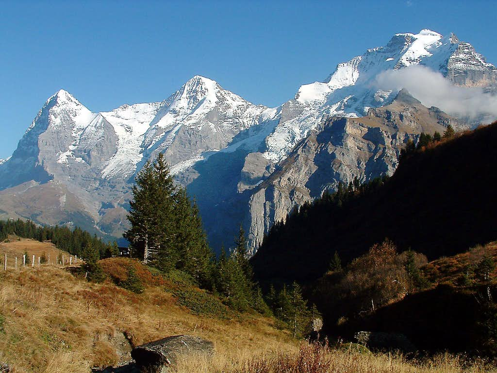 Eiger,Mönch and Jungfrau from the way Winteregg - Allmendhubel
