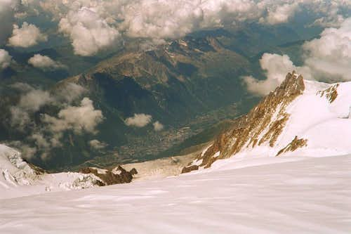 View to Chamonix from Top of Mont Blanc
