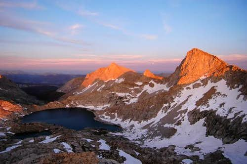 Sun setting on Sawtooth Peak,...