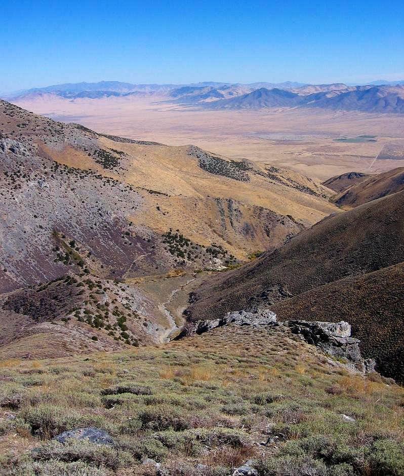 Looking down the ridge