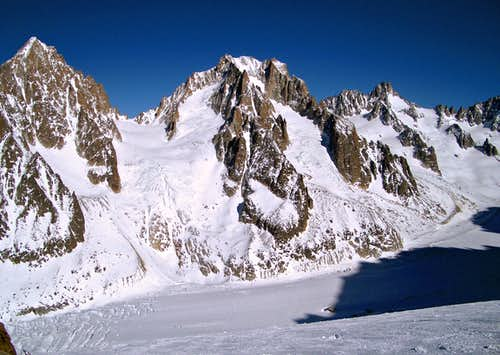 Col du Chardonnet and the Argentiere Glacier.