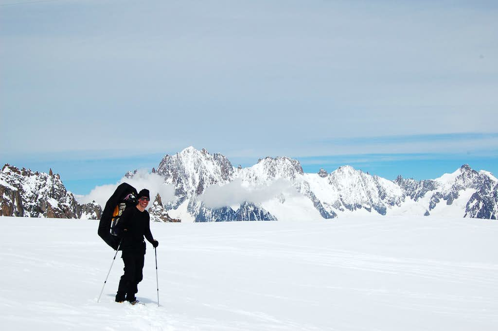The Walk out from our campsite below the NE face of Mont Blanc du Tacul