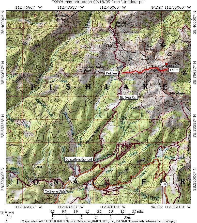 Delano Peak map