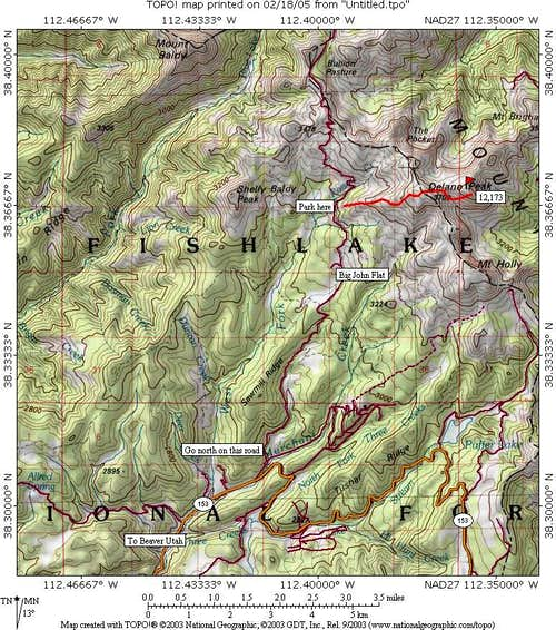 Delano Peak map