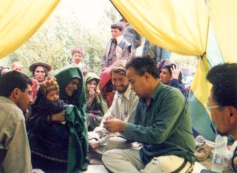 Giving Medicines in Northern Area of Pakistan